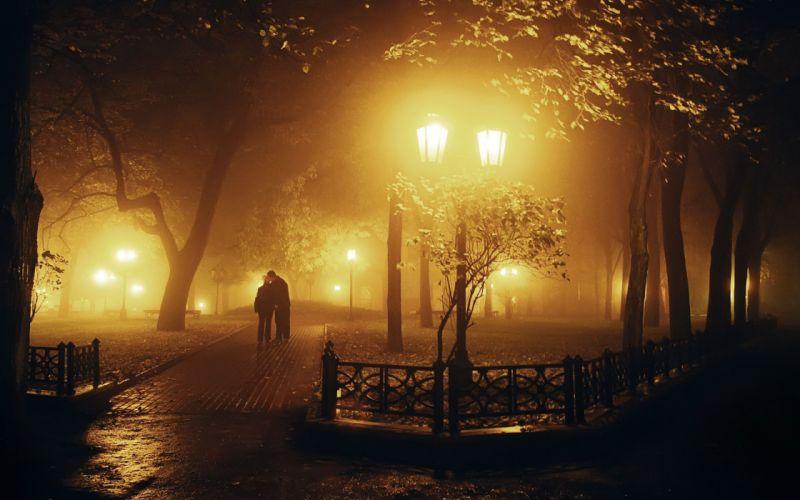 tree night lamb couple love romantic mood fog kiss wallpaper