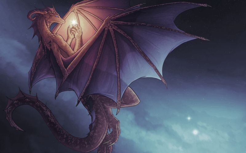 dragon fantasy sky stars cloud light magic wallpaper