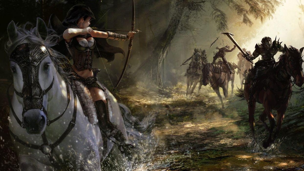 arrow warrior fantasy girl horse monster wallpaper