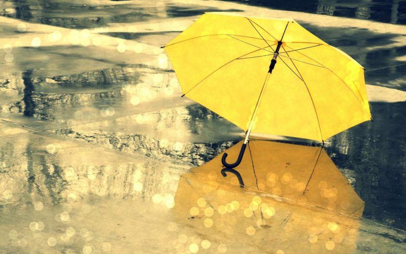 umbrella yellow rain mood wallpaper