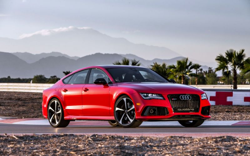 Audi RS7 Red road mountains cloud speed motors cars wallpaper
