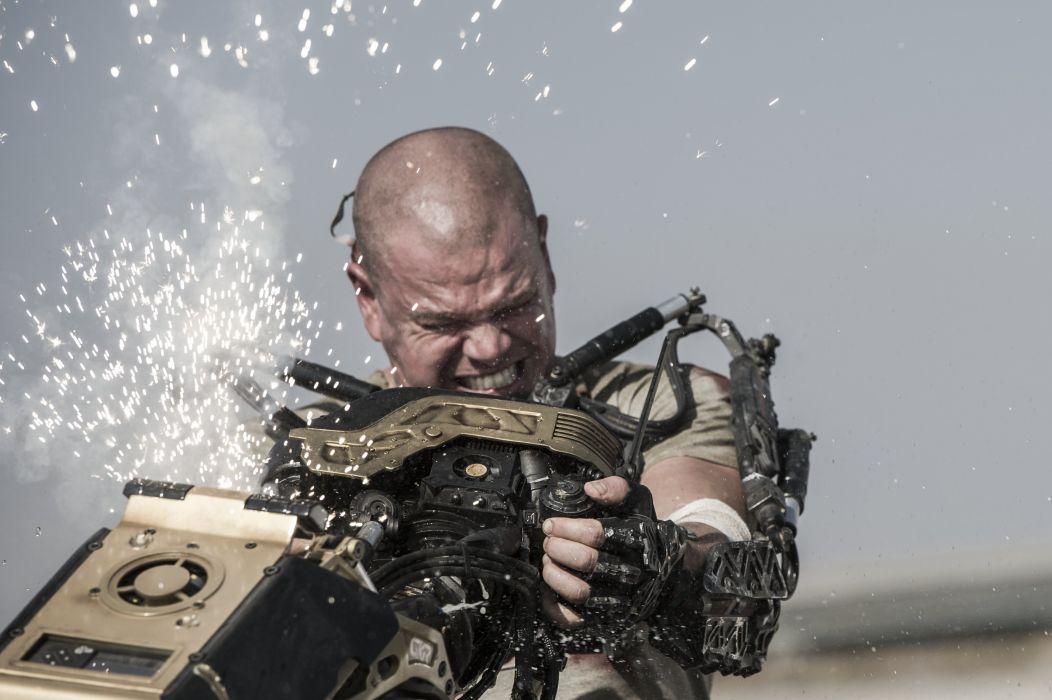 ELYSIUM sci-fi thriller apocalyptic action futuristic drama damon cyborg warrior wallpaper