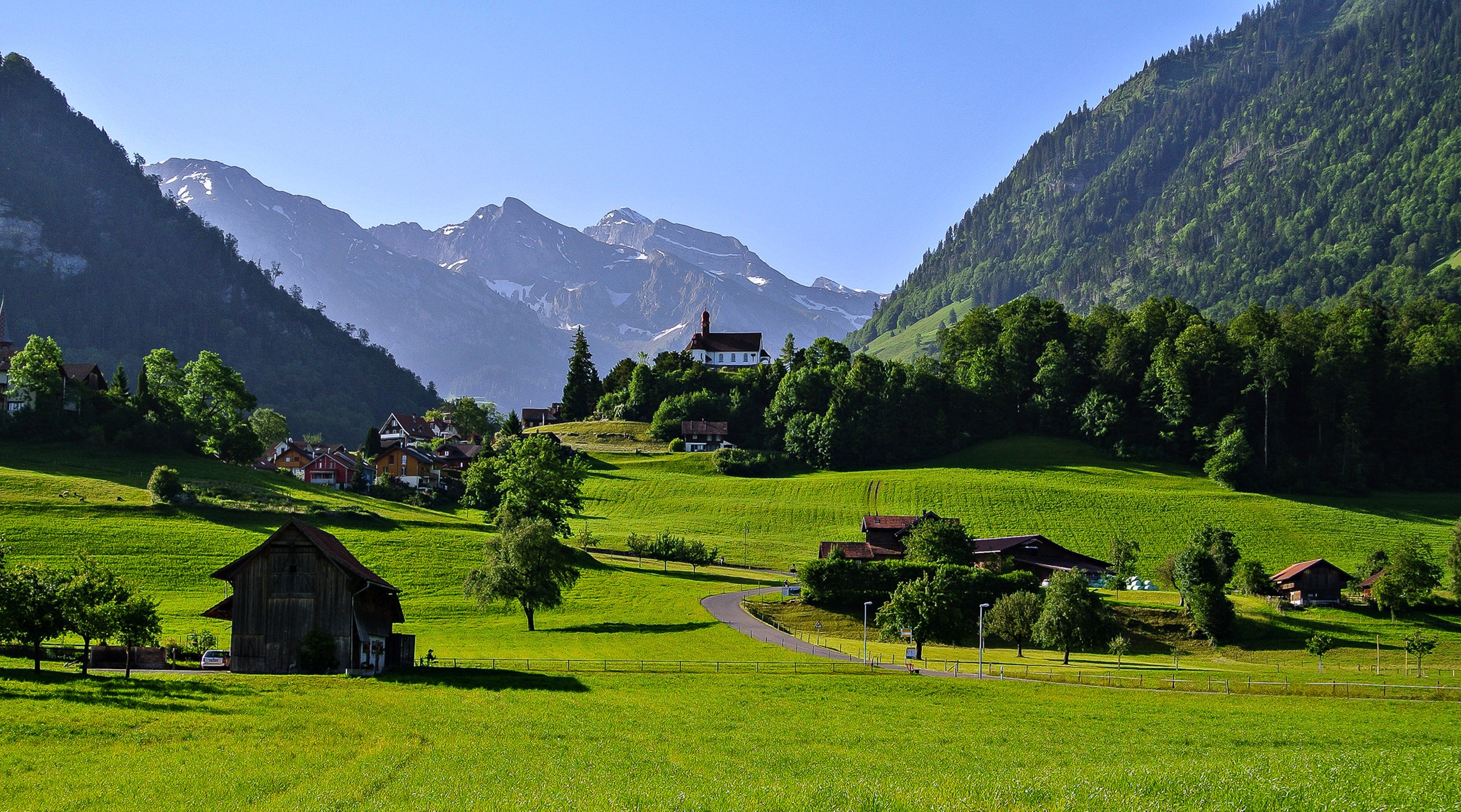 Switzerland town countryside landscapes houses trees grass for Countryside wallpaper for walls