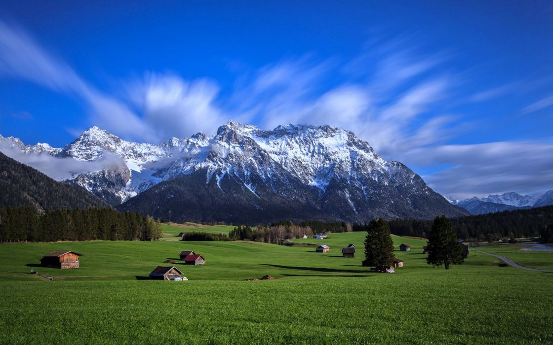 dolina town countryside landscapes houses trees grass green spring nature forest beauty life mountains farms Fields snow sky clouds wallpaper