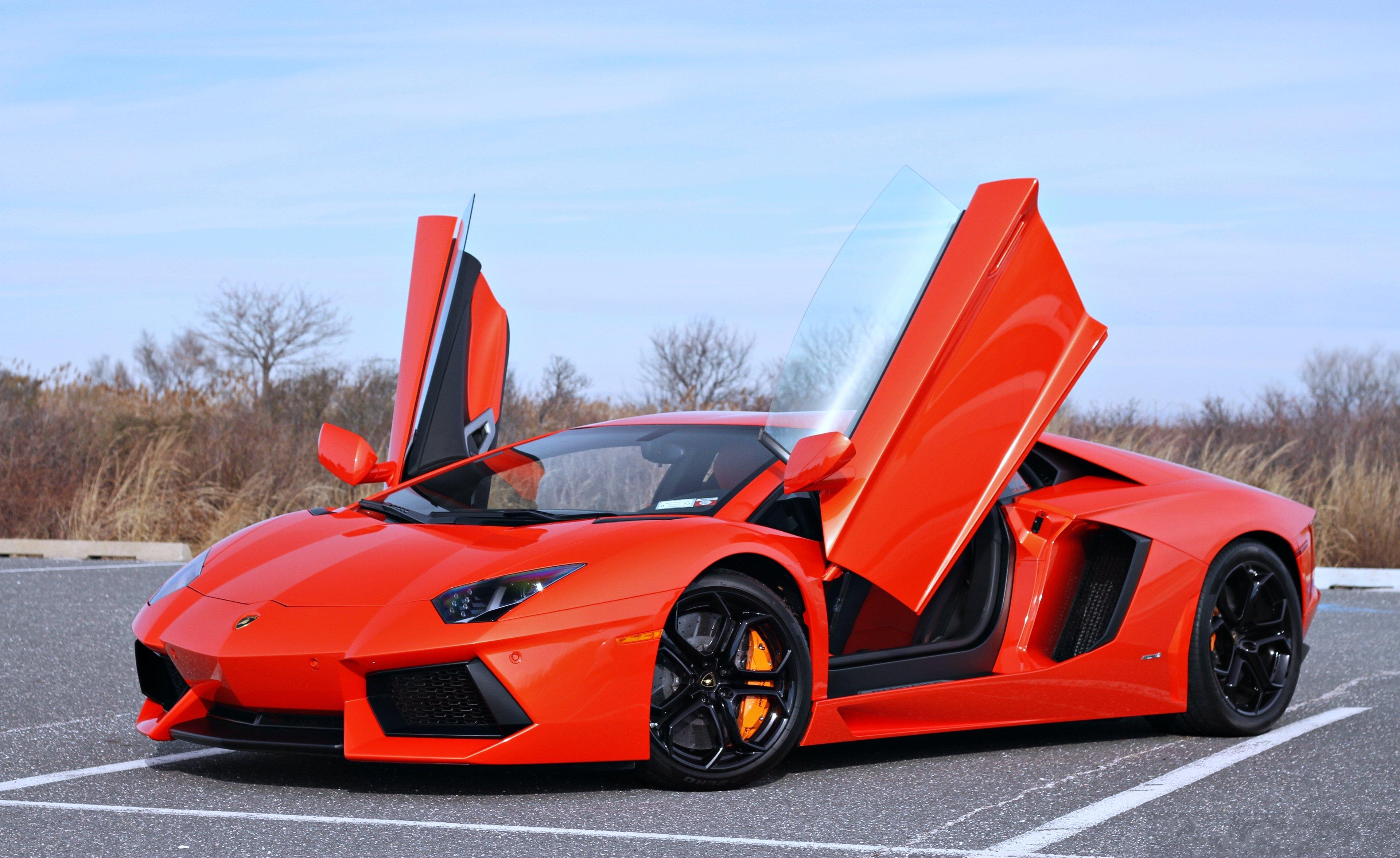 Lamborghini Aventador Orange Roard Speed Supercar Cars