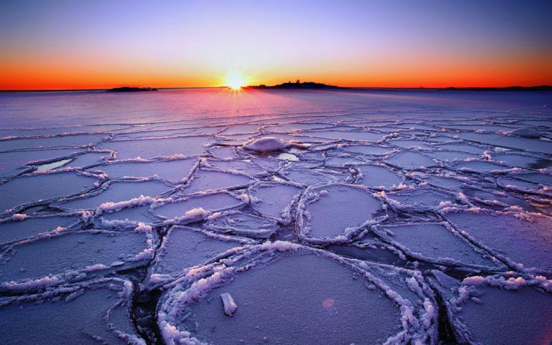 deshielo-amanecer-hielo-oceano-paisajes-naturaleza wallpaper