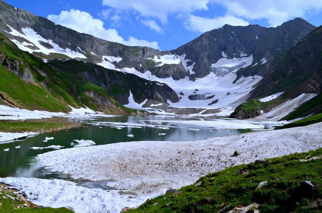 Gattain lake Kashmir pakistan nature snow winter landscape mountains spring wallpaper