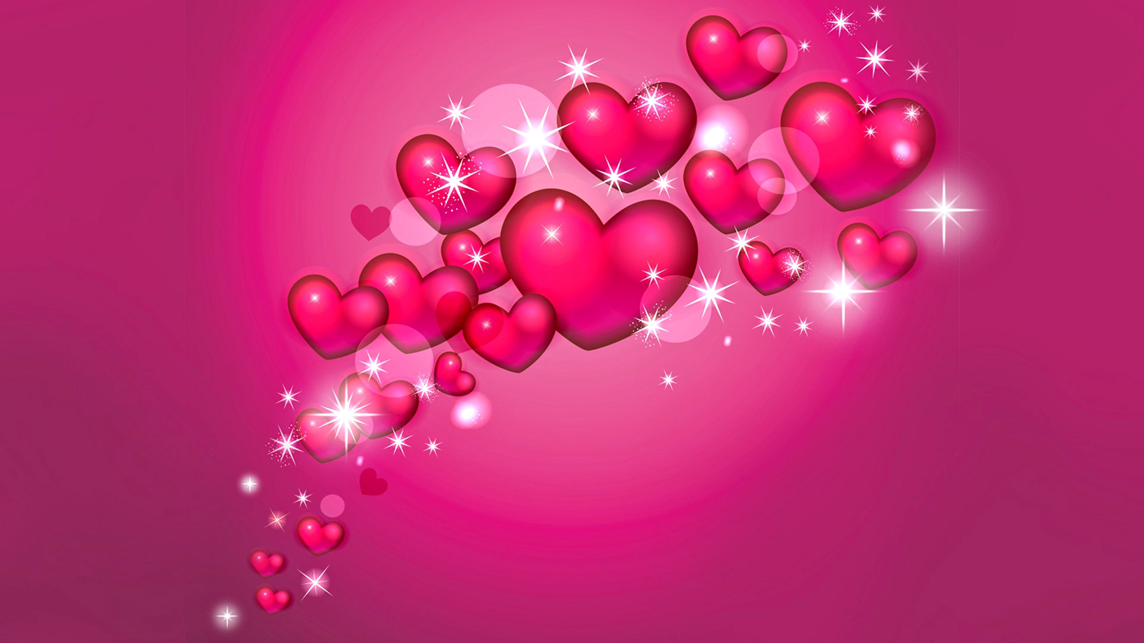 Pink Rose Heart Wallpapers Stars Fantasy Love Wallpaper 3840x2160