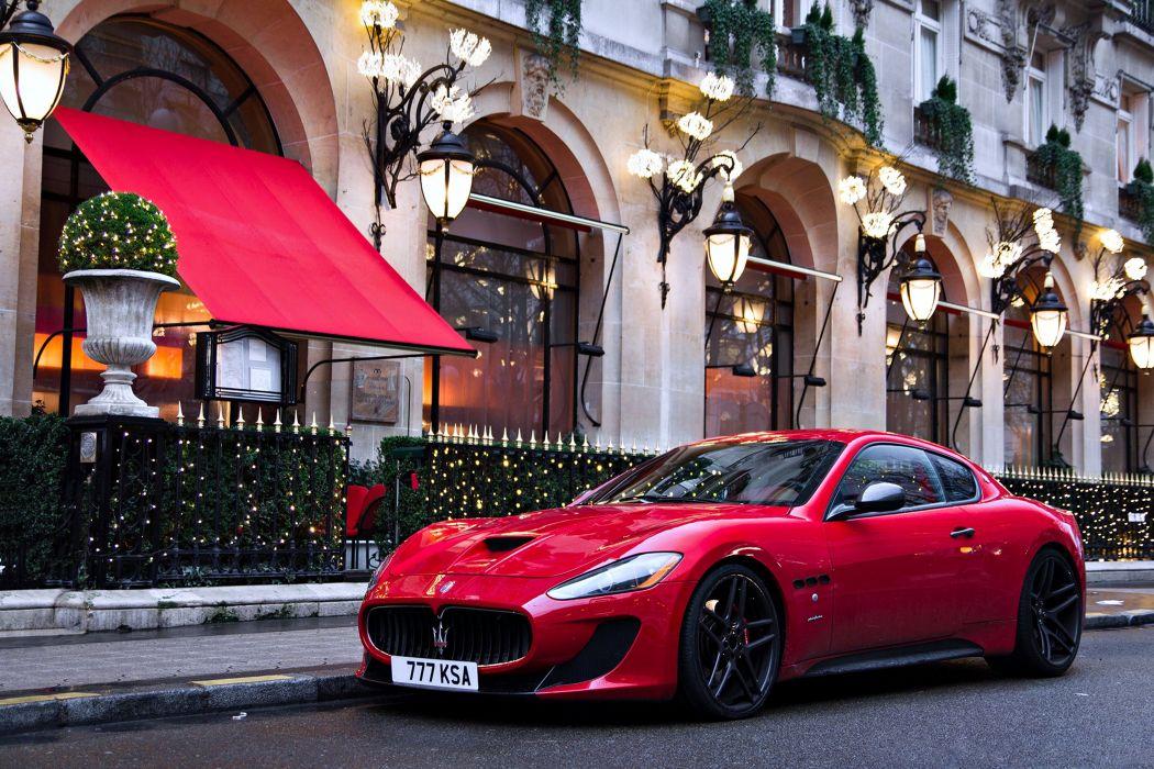 Maserati gran gurismo red cars city road street lights town speed motors auto wallpaper
