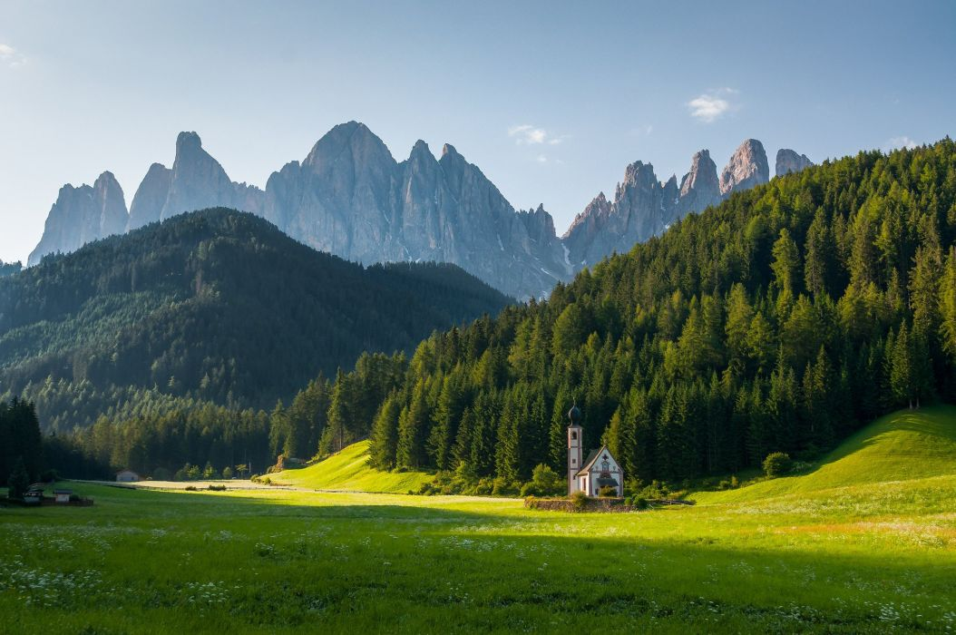 Alps Dolomite Alps Alps mountains forest trees church meadow grass flowers houses landscape nature wallpaper