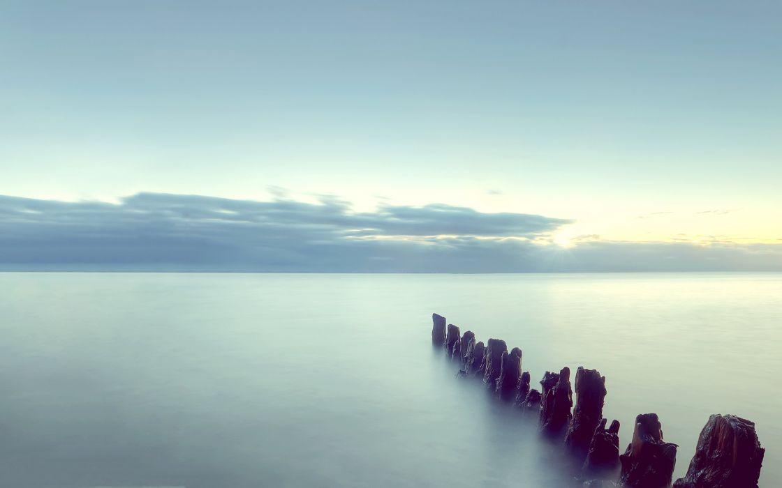 bars horizon sea clouds wallpaper