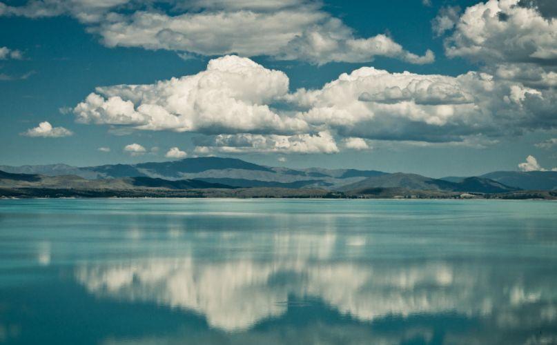 clouds lake mountains reflection wallpaper