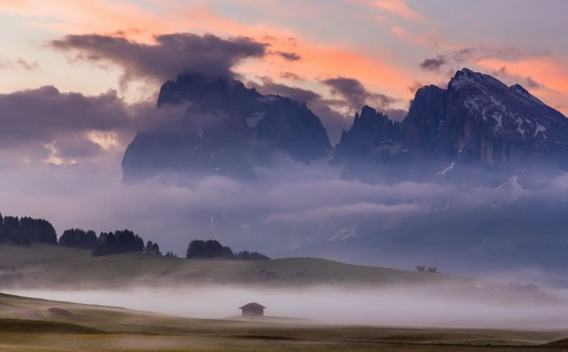 Dolomite Alps Alps Dolomite Alps Alps sunrise mountains sky clouds trees lawn grass fog home nature landscape wallpaper