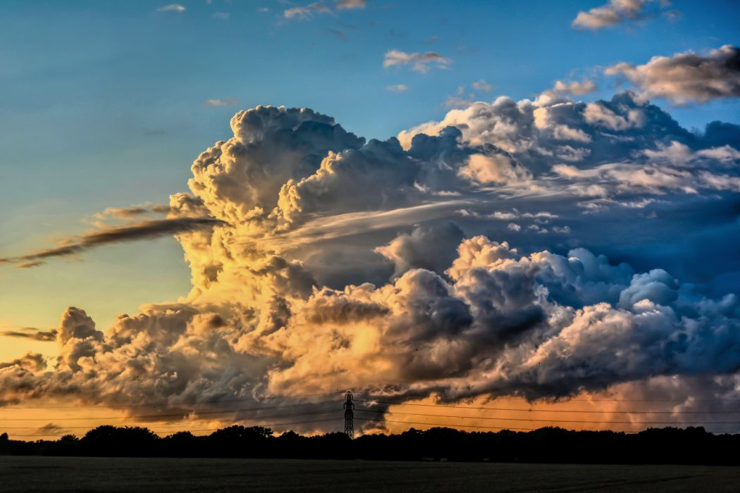 Cumulonimbus clouds storm winter rain clouds sunset tornadoes gray earth water wind strong fast lightning mountains evening lattice trees silhouette landscape nature wallpaper