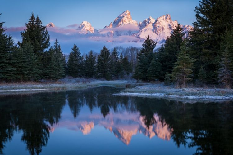 Grand Teton Wyoming USA Wyoming USA sky mountains snow clouds trees forest river water grass frost landscape nature wallpaper