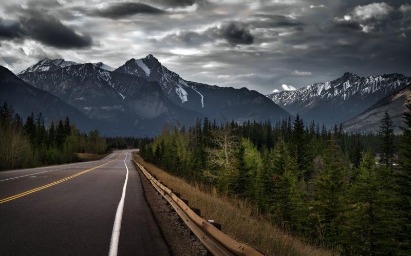 Jasper Alberta Canada Canadian Rockies mountain road forest trees wallpaper