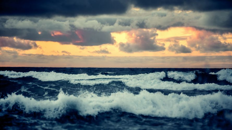horizon waves sunset troubled sea waves clouds sea wallpaper