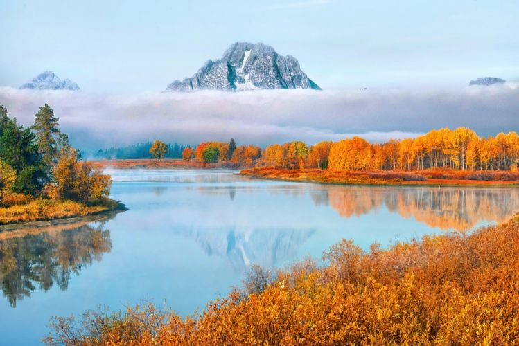 National Park Wyoming USA autumn reflection lake river wallpaper
