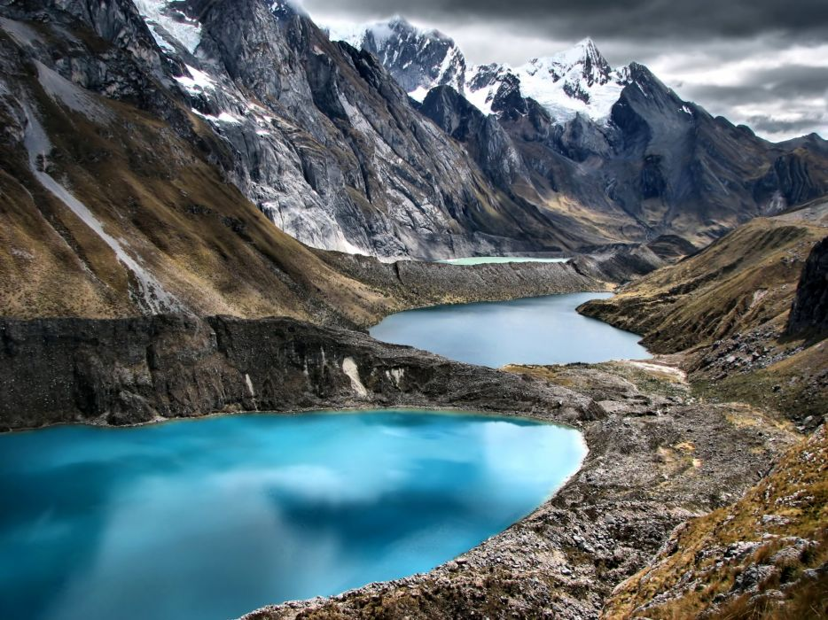Peru Mountains Lake Cordillera Huayhuash Nature wallpaper