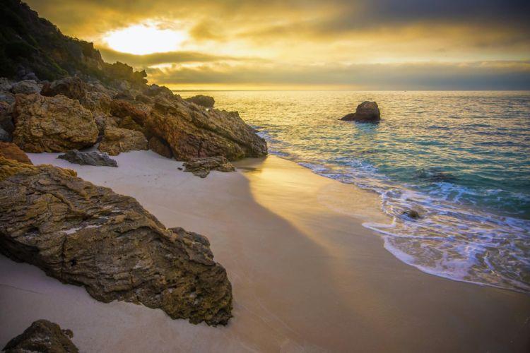 ocean rocks sand sunrise beach wallpaper