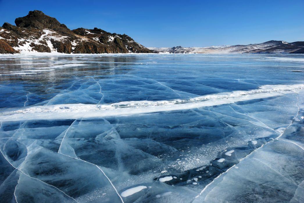 Russia Scenery Lake Winter Baikal Ice Nature wallpaper