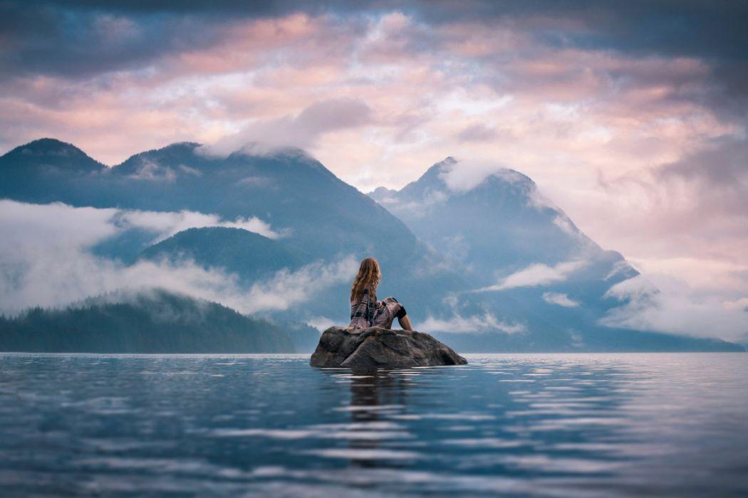 Silent Moment Stone Island Girl Lake Mood Wallpaper