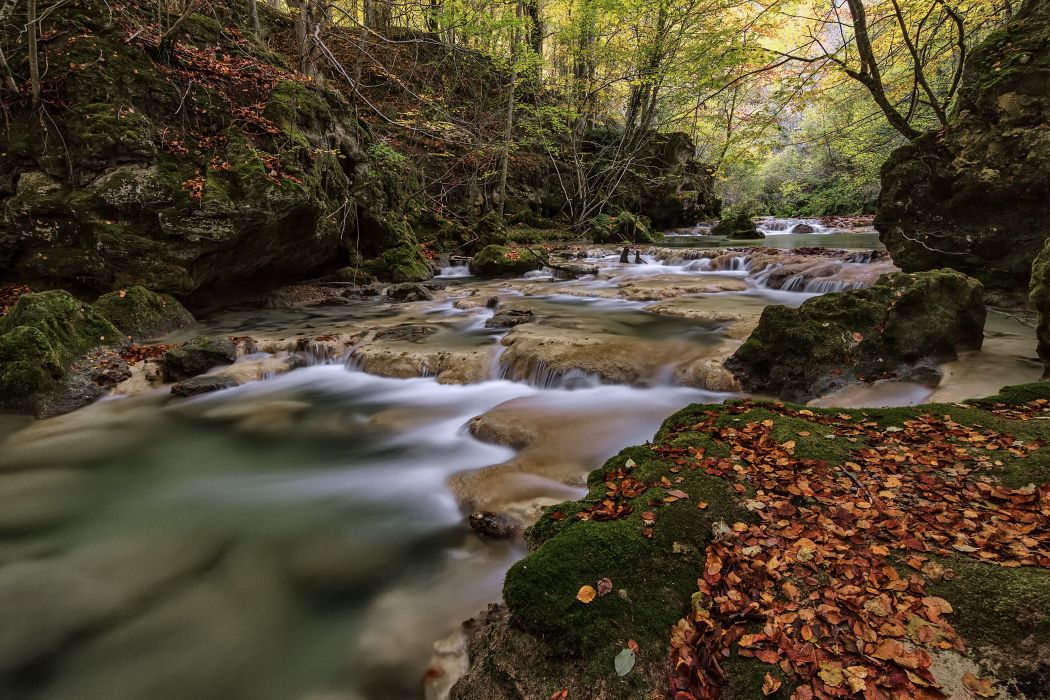 river trees leaves cascade moss rocks stones nature Spain Spain river water waterfall wallpaper