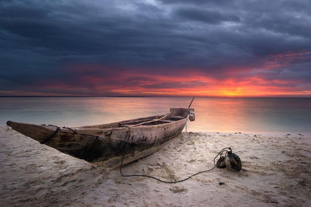 sunset clouds sky sea beach sand wallpaper