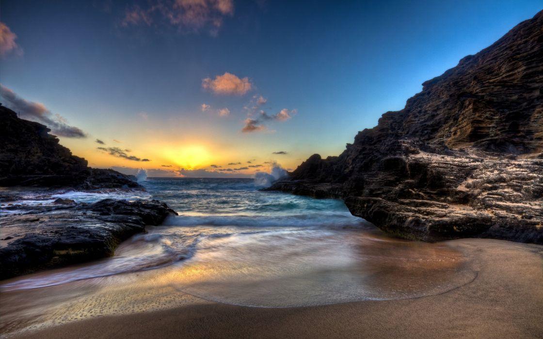 Sunset Sunrise Sand Sky Sun Landscape Nature Scenery Beautiful Ocean Beach Wallpaper