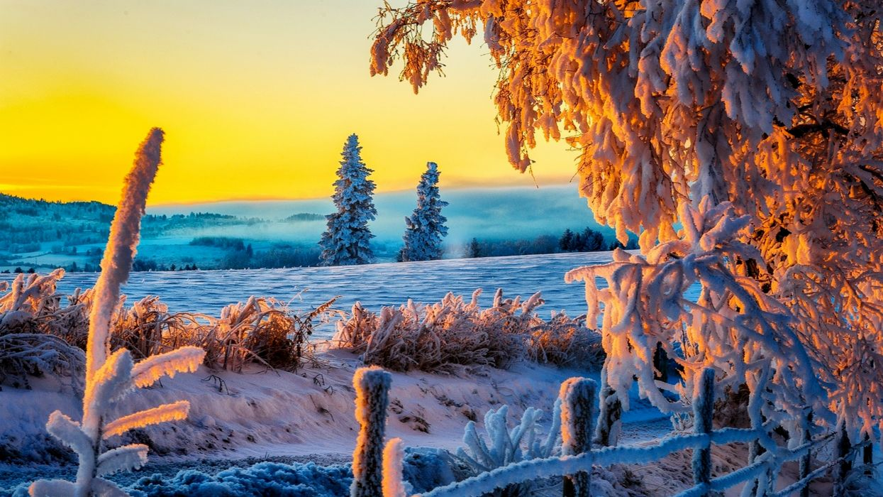 Sky Sunset Landscape Nice nature winter ice frost wallpaper