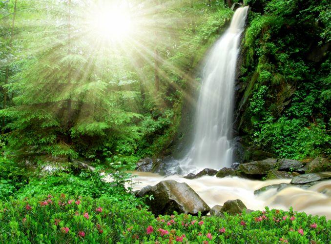 Waterfall Rays of light Nature wallpaper