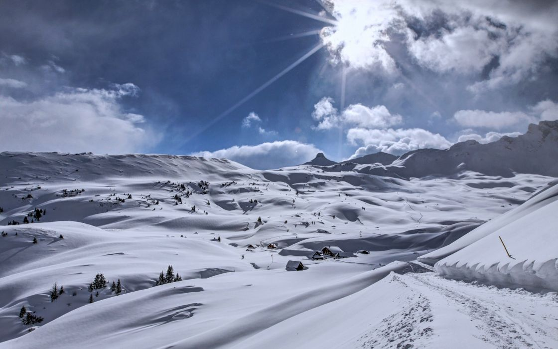 hills snow houses white winter cold mountains sky sun clouds weather trees landscape wallpaper