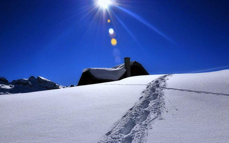 hills snow houses white winter cold mountains sky sun clouds weather trees landscape blue wallpaper