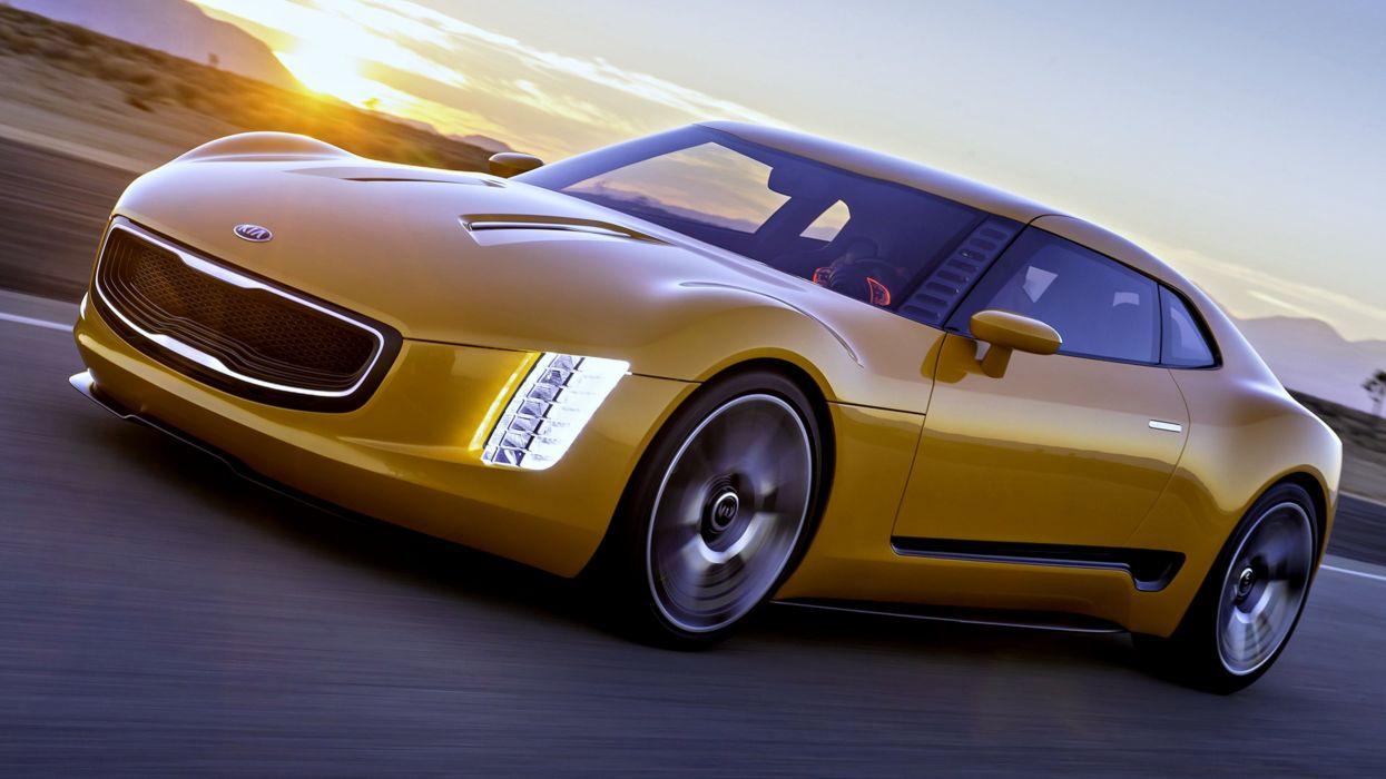 2014 Kia GT4 Stinger yellow road speed auto motors supercar cars race landscape sunset wallpaper