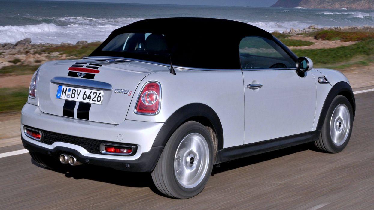 2012 Mini Cooper S Roadster sea rocks beach white roof cars motors auto speed landscape wallpaper