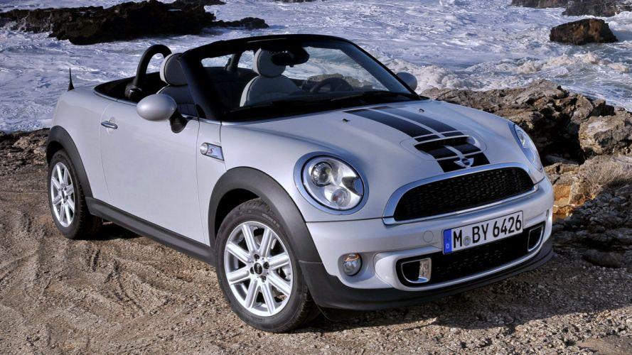 2012 Mini Cooper S Roadster sea rocks beach white roof cars motors auto speed wallpaper