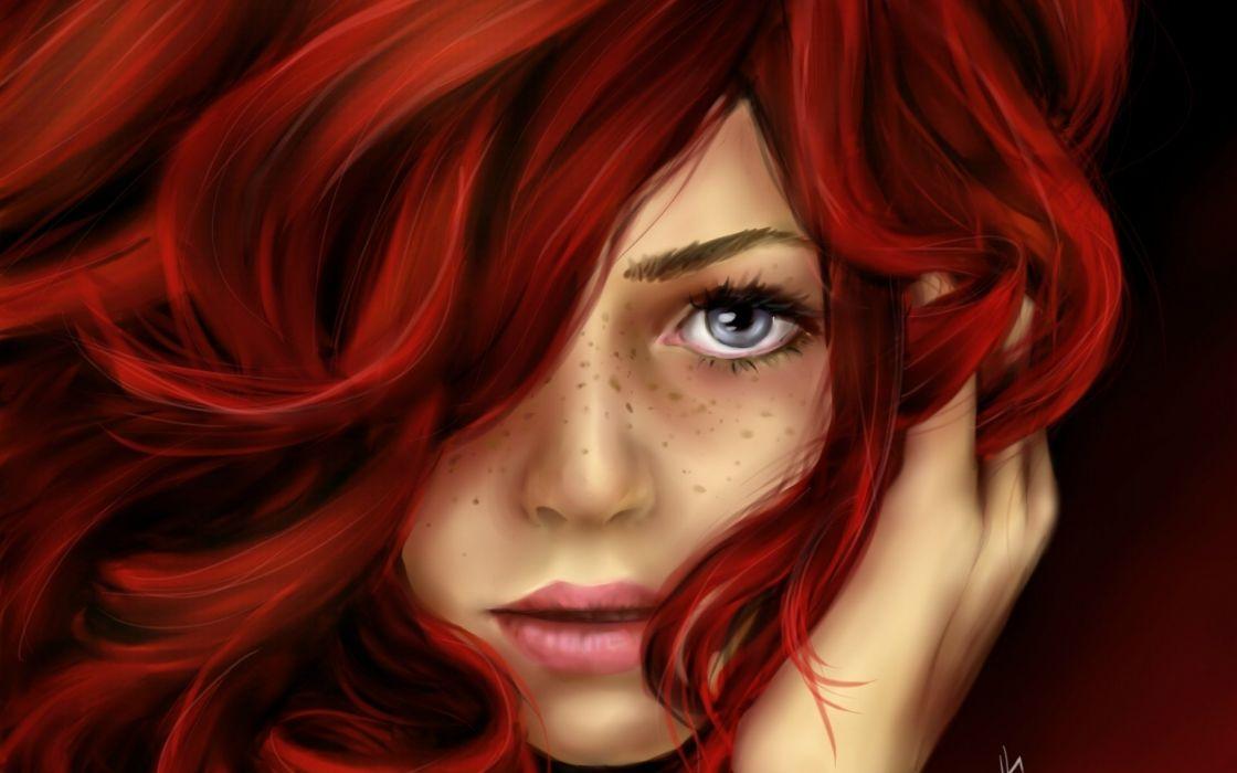 red hair girl face blue eyes wallpaper
