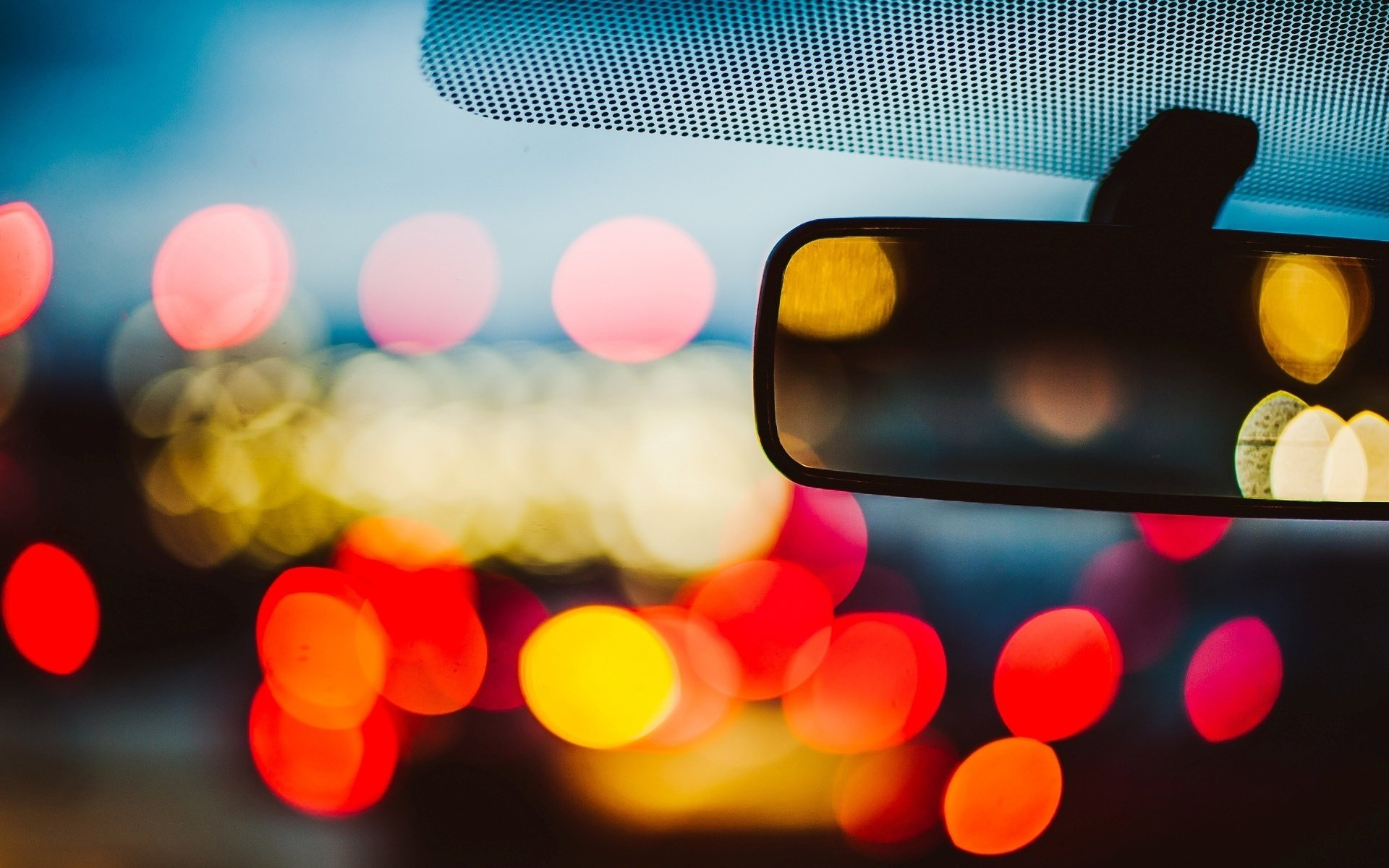 25 Colorful Hd Wallpapers To Light Up Your Display: Car Mirror Bokeh Light Mood Night Wallpaper