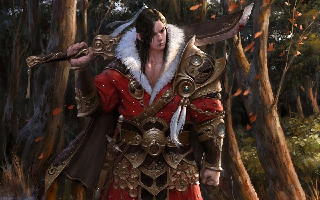 game warrior male sword Armor tree forest fantasy long hair wallpaper