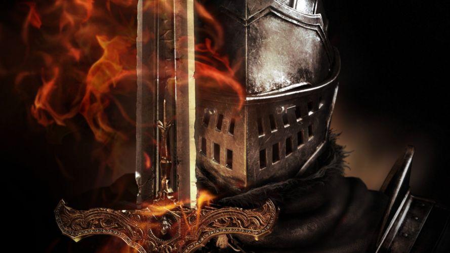 Knight fire sword fantasy warrior arrow wallpaper