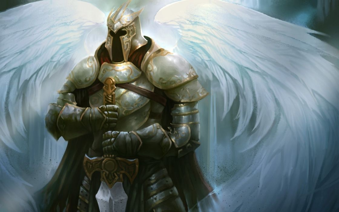 angel knight sword fantasy wallpaper