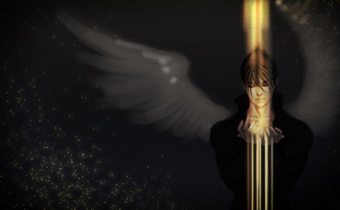angel guy yellow light magic wing wallpaper