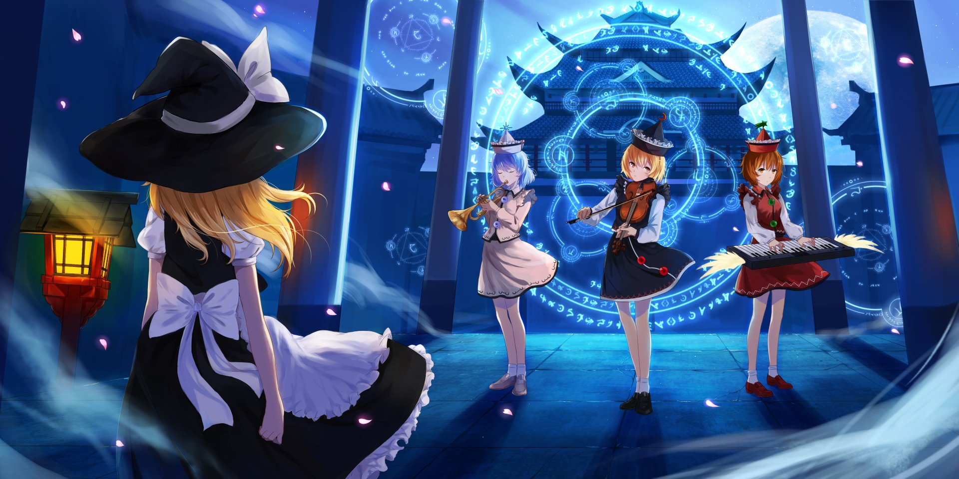 Music Instrument Anime Girls Blue Witch Violin Piano Wallpaper