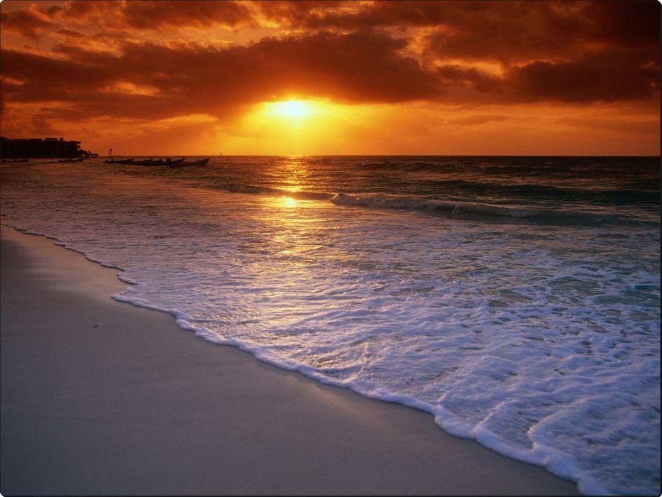 Sunrise Over the Caribbean Sea Playa del Carmen Mexico wallpaper