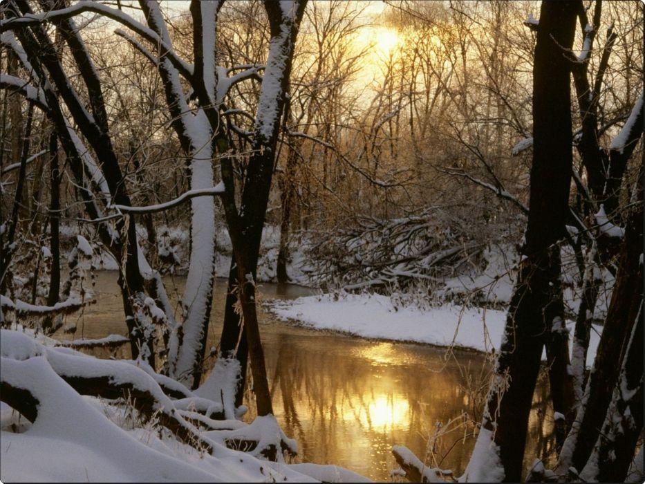 Harpeth River Winter Sunrise Williamson County Tennessee wallpaper
