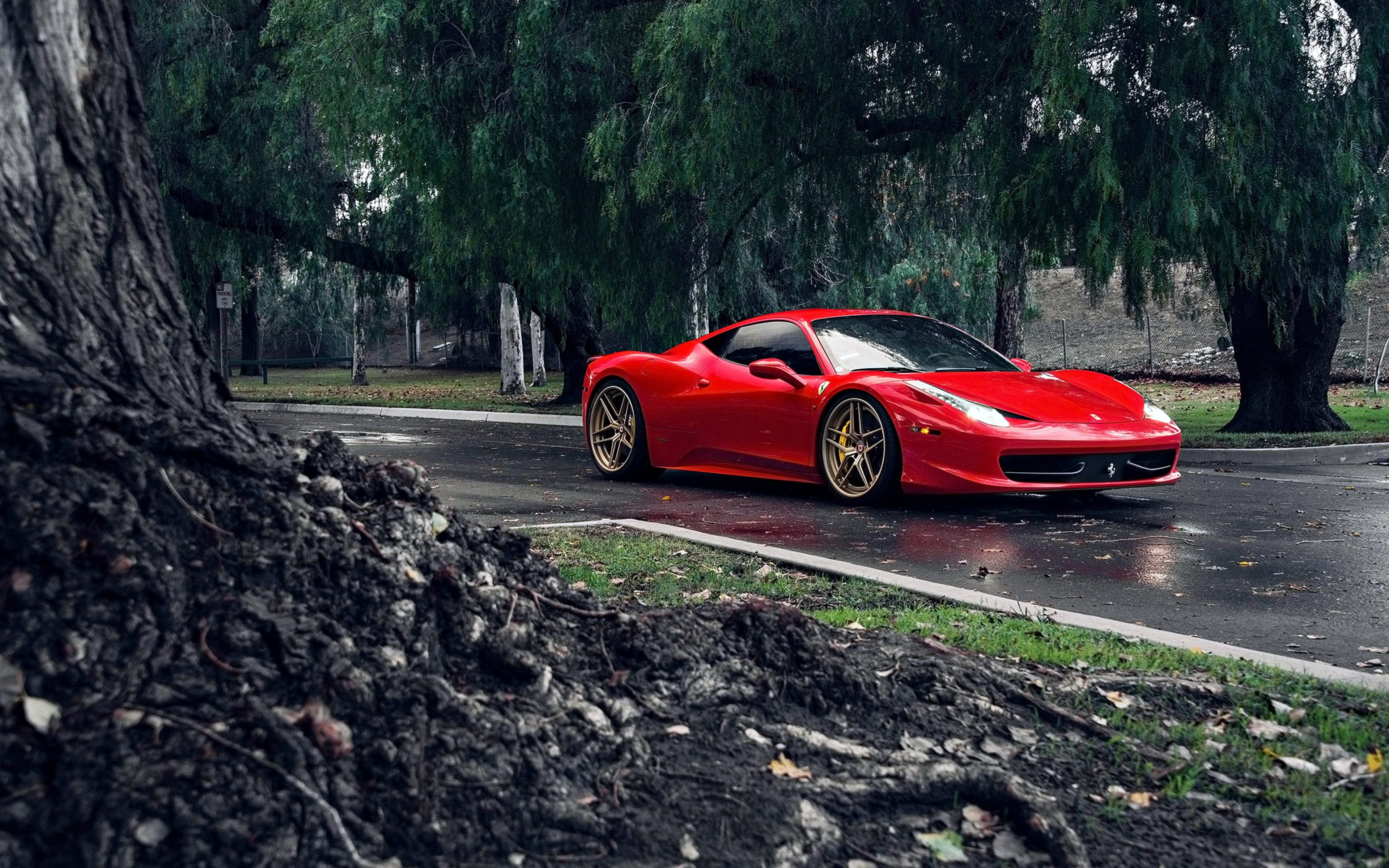Ferrari Italia Klassen Id Tuning Supercars Red Cars Road Trees
