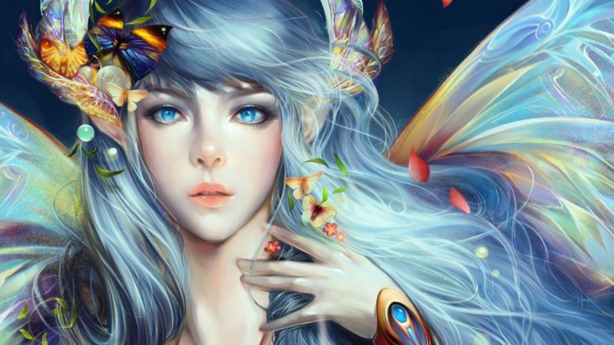 fantasy girl fairy beautiful blue hair blue eyes face flower wallpaper