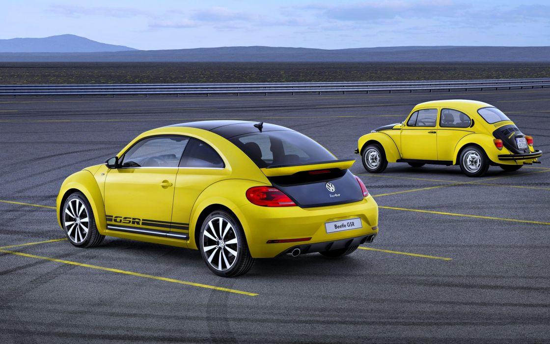 Volkswagen Beatle GSR Two Yellow Retro Beetle cars speed motors wallpaper