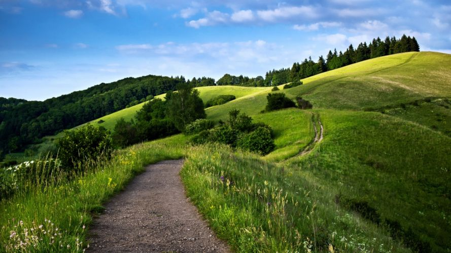 path way landscape hills mountains forest green nature spring sky trees wallpaper