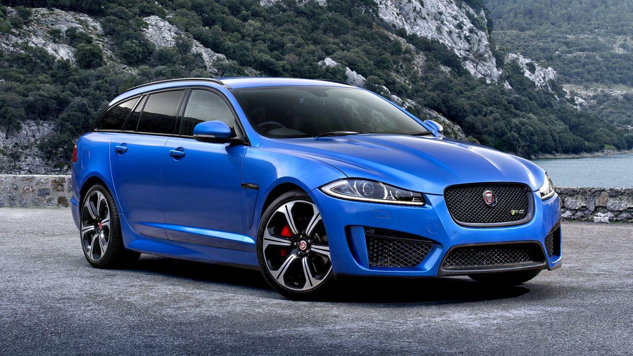 2014 Jaguar XFR-S Sportbrake UK landscape blue sea motors speed cars wallpaper